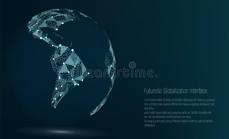 世界地图点 3d美国美好的尺寸形象例证南三非常 也corel凹道例证向量 构成,代表全球网络连接 皇族释放例证