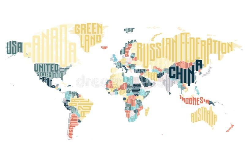 世界地图由印刷国名做成 库存例证