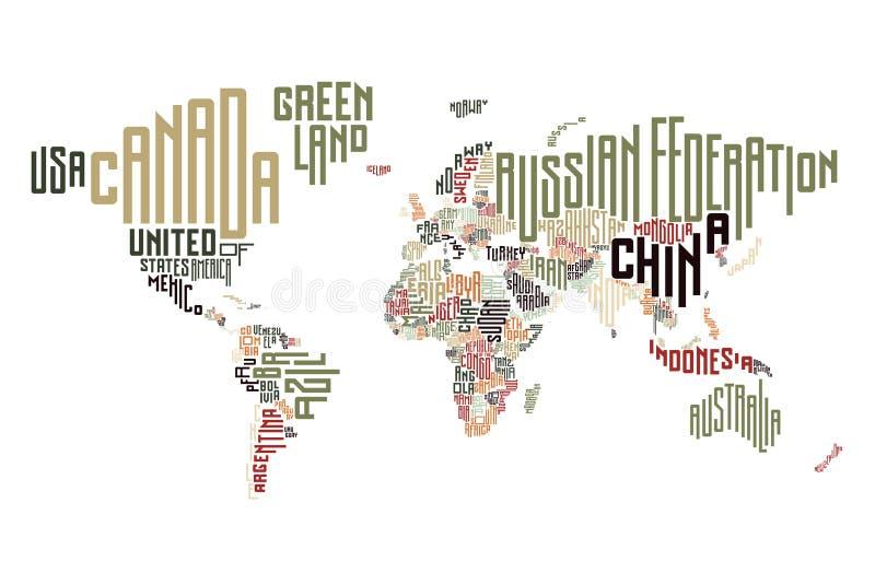世界地图由印刷国名做成 皇族释放例证