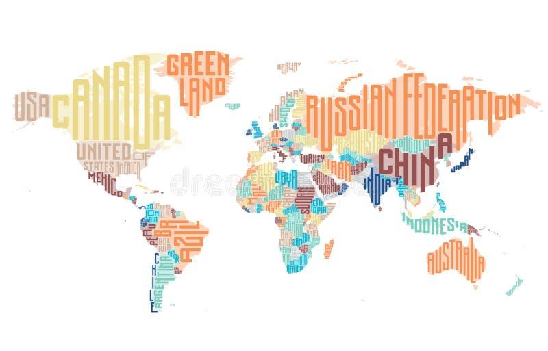 世界地图由印刷国名做成 向量例证