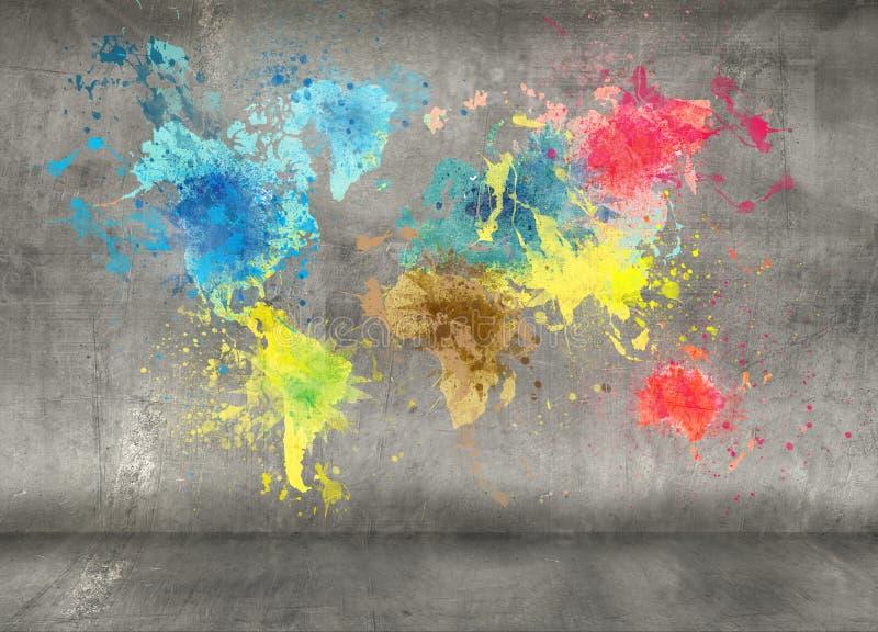 世界地图由油漆制成在混凝土墙飞溅 向量例证