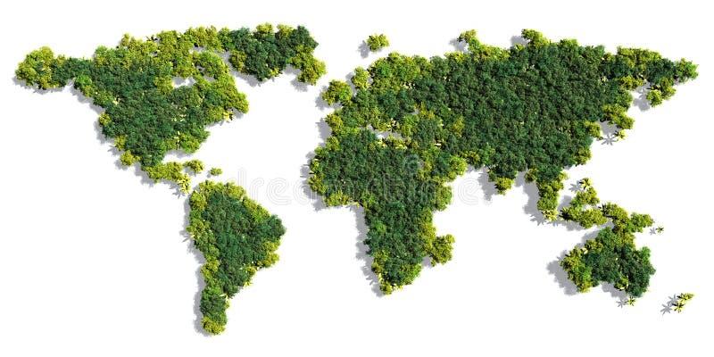 世界地图由绿色树做成 向量例证