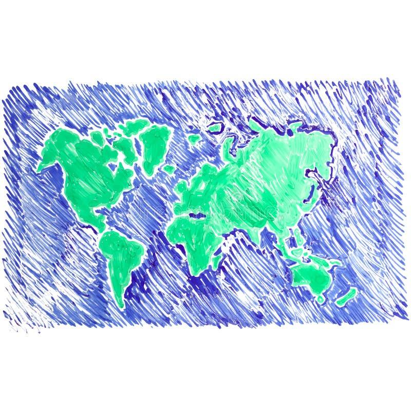 世界地图白板例证 皇族释放例证