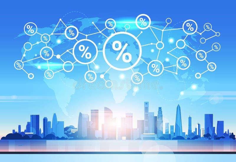 世界地图百分之象财政逻辑分析方法网络未来派界面衔接概念地平线日落都市风景 向量例证