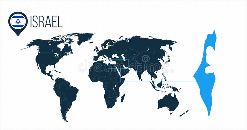 世界地图的以色列地点infographics的 没有名字的所有世界国家 以色列在地图别针或标志的回合旗子 向量例证