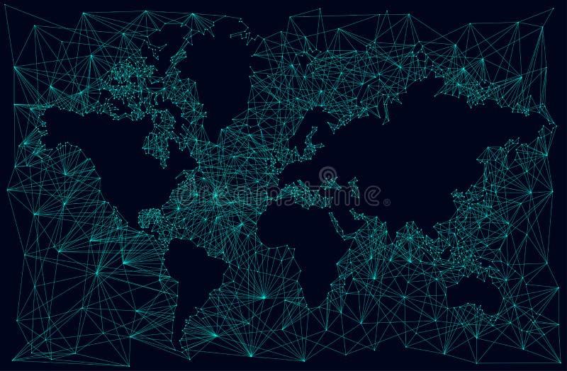 世界地图的剪影,分数维抽象背景 皇族释放例证