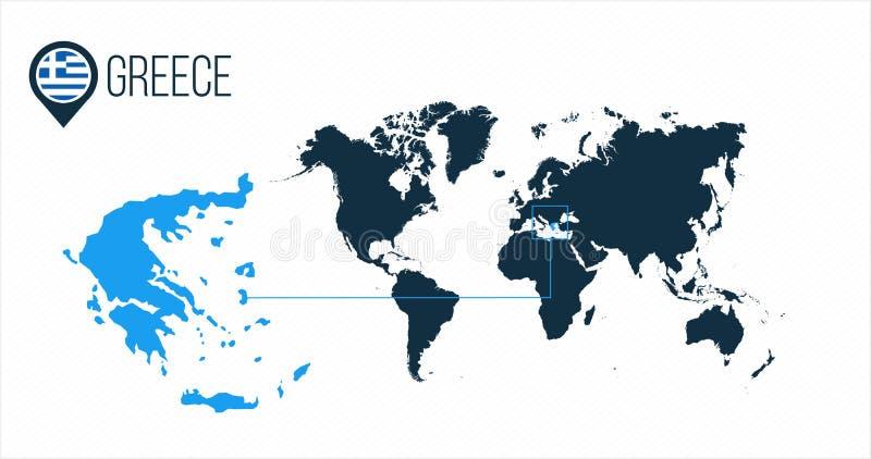 世界地图的希腊地点infographics的 没有名字的所有世界国家 希腊在地图别针或标志的回合旗子 皇族释放例证