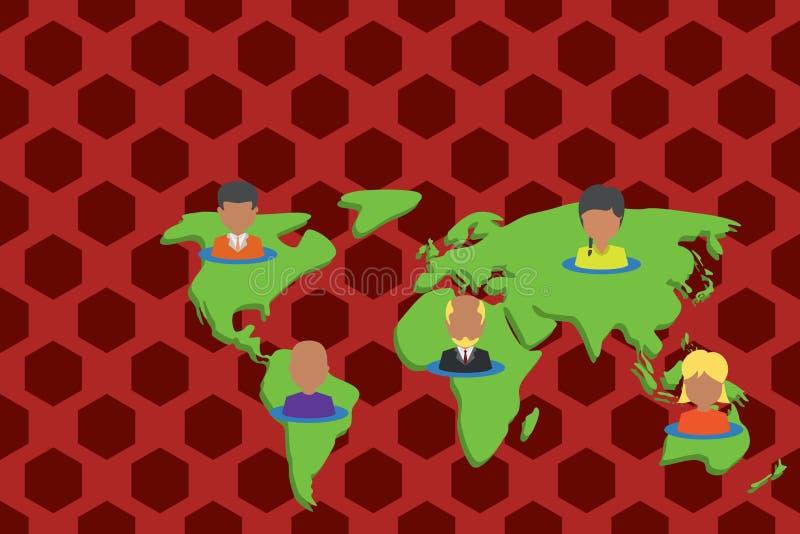 世界地图的拼贴画不同种族的人民 汇集不同的人画象安置了五个大陆 ?? 向量例证