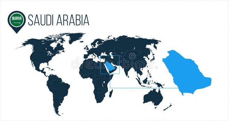 世界地图的沙特阿拉伯地点infographics的 没有名字的所有世界国家 沙特阿拉伯在地图别针的回合旗子 向量例证