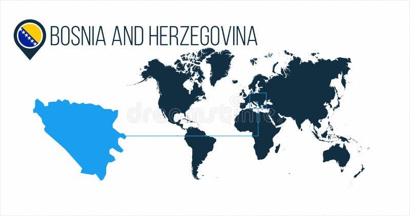 世界地图的波斯尼亚和Herzehovina地点infographics的 波斯尼亚和Herzehovina在地图别针或标志的回合旗子 皇族释放例证