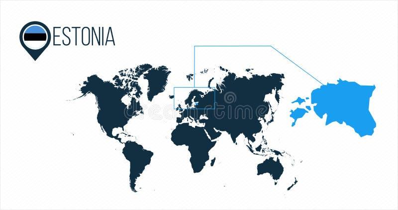 世界地图的爱沙尼亚地点infographics的 没有名字的所有世界国家 爱沙尼亚在地图别针或标志的回合旗子 库存例证