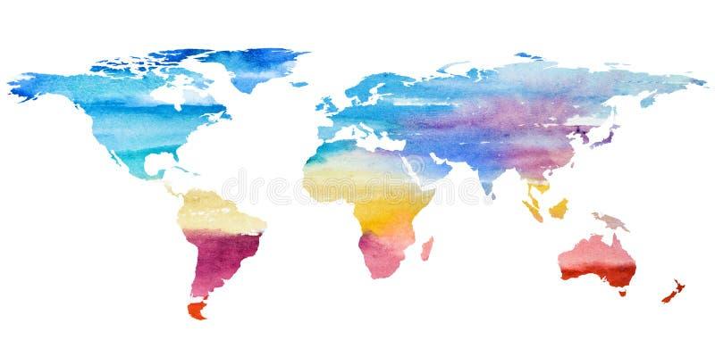 世界地图的第2个手拉的例证 向量例证