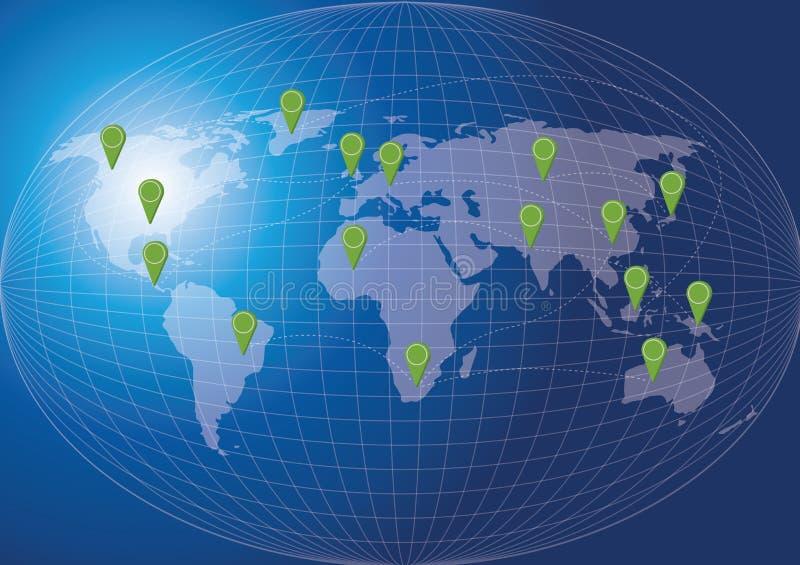 世界地图社会网络概念。 向量例证