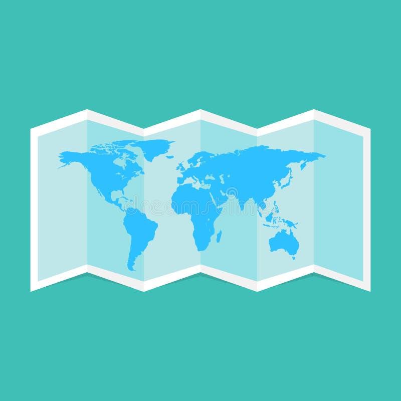 世界地图空白,传染媒介例证 空白的地图设计大模型,被隔绝,裁减路线, 3d例证 被折叠的图模板moc 向量例证