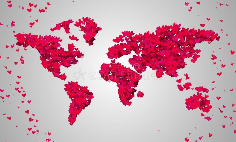 世界地图红色爱形状微粒 皇族释放例证