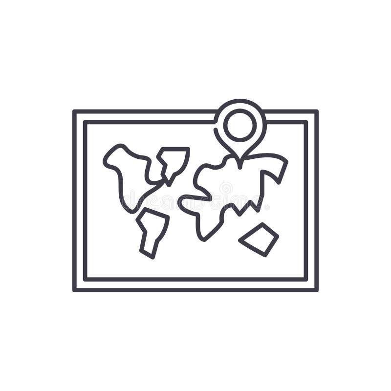 世界地图线象概念 世界地图传染媒介线性例证,标志,标志 库存例证