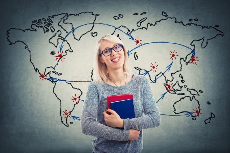 世界地图老师 免版税库存照片
