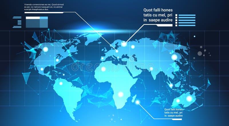 世界地图背景、套计算机未来派Infographic元素技术模板图和图表,与拷贝的横幅 向量例证