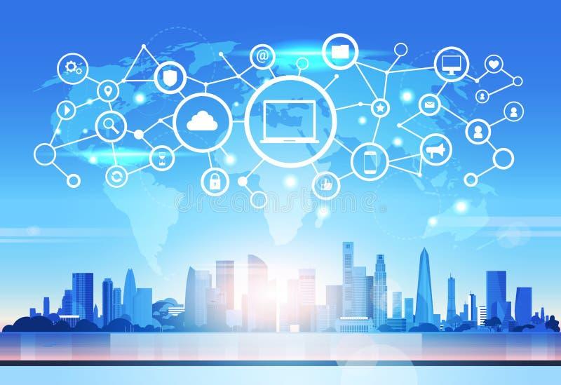 世界地图膝上型计算机象数据库云彩安全网络未来派接口数据保密性连接概念地平线 库存例证