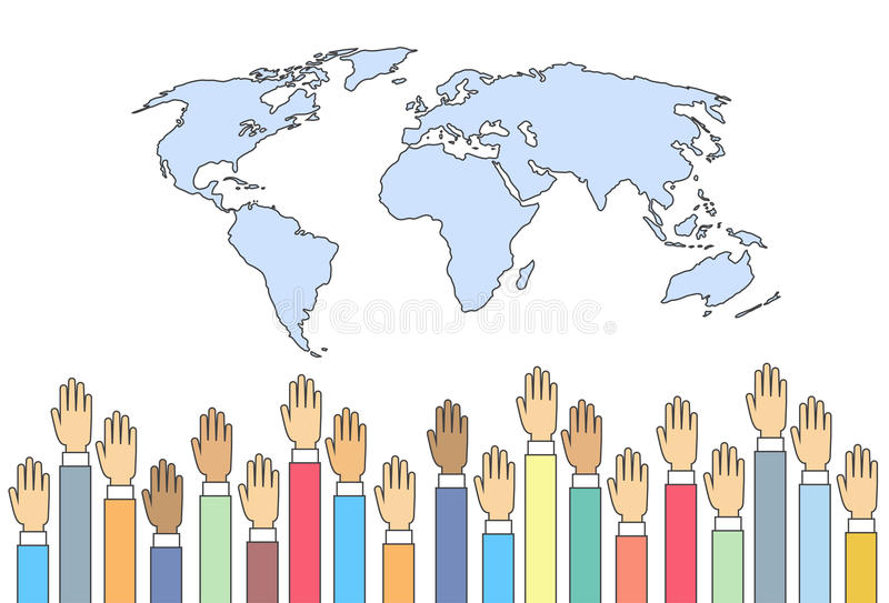 世界地图被上升手国际性组织联合 向量例证