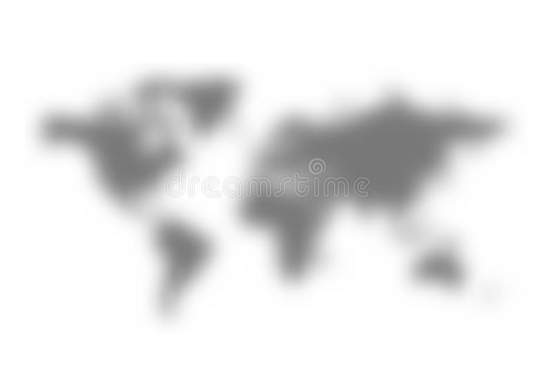 世界地图被弄脏的剪影  传染媒介梯度滤网阴影 库存例证