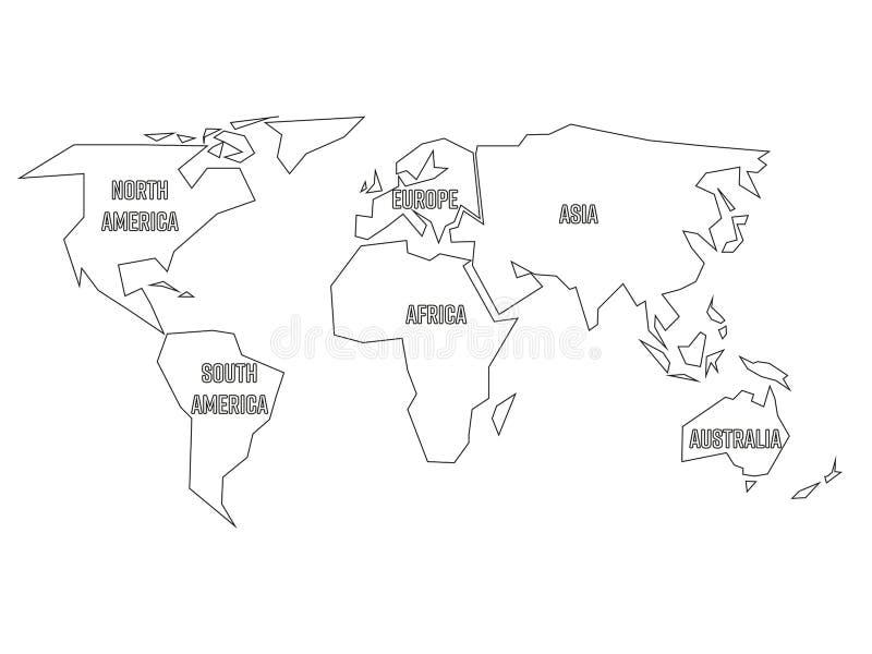 世界地图被简化的黑概述被划分对六个大陆 在白色背景