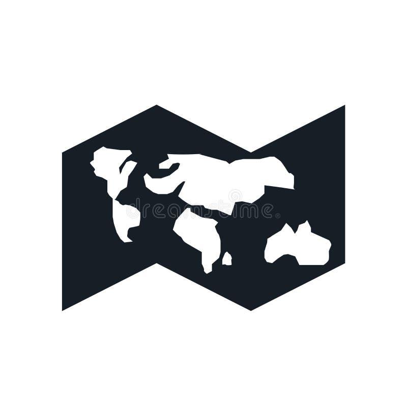 世界地图象在白色背景和标志隔绝的传染媒介标志,世界地图商标概念 向量例证