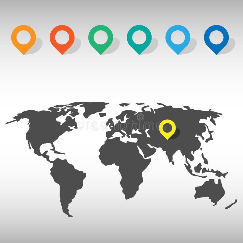 世界地图象设置了伟大为所有使用 eps10开花橙色模式缝制的rac ric缝的镶边修整向量墙纸黄色 向量例证