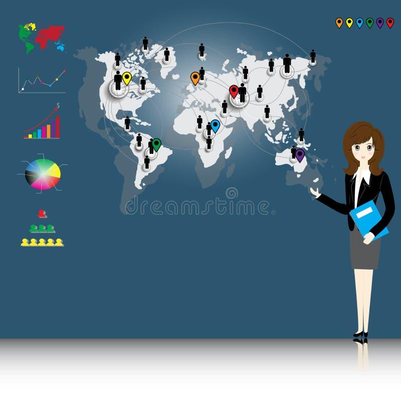 世界地图连接 向量例证
