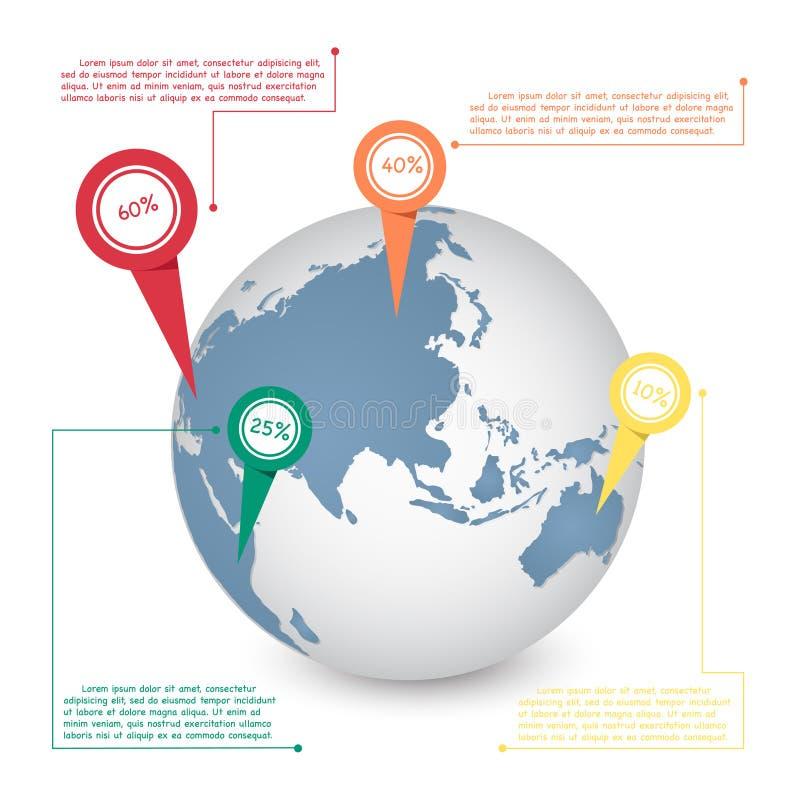 世界地图通信概念的地球信息图表 皇族释放例证