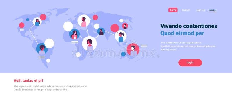 世界地图闲谈泡影全球性通信配合连接概念具体化的人们平展混合种族人妇女面孔 向量例证