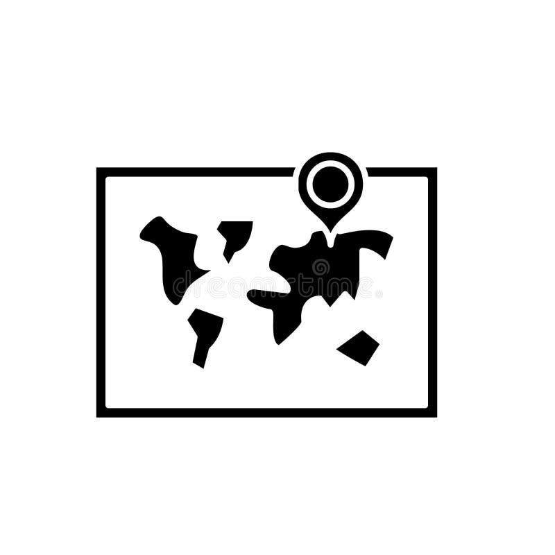 世界地图黑色象,在被隔绝的背景的传染媒介标志 世界地图概念标志,例证 向量例证