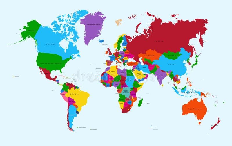 世界地图,五颜六色的国家地图集EPS10传染媒介f 皇族释放例证