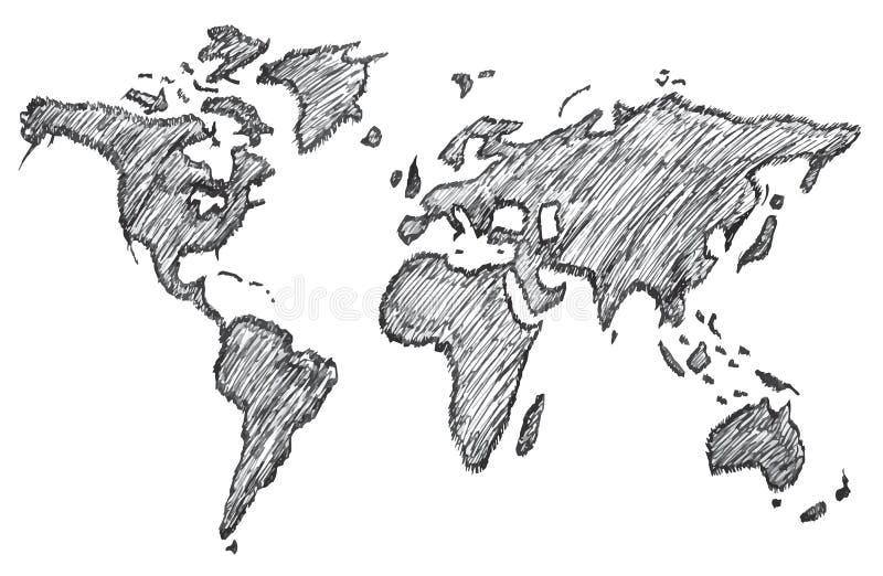 世界地图,徒手画的铅笔,传染媒介,例证,样式 库存例证