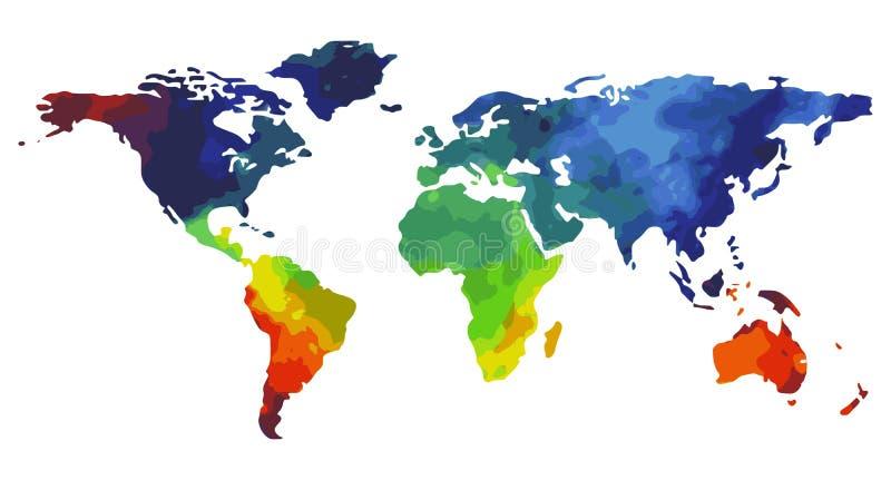世界地图水彩 库存例证