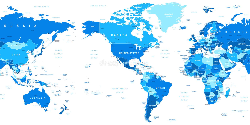 世界地图-美国在中心 向量例证