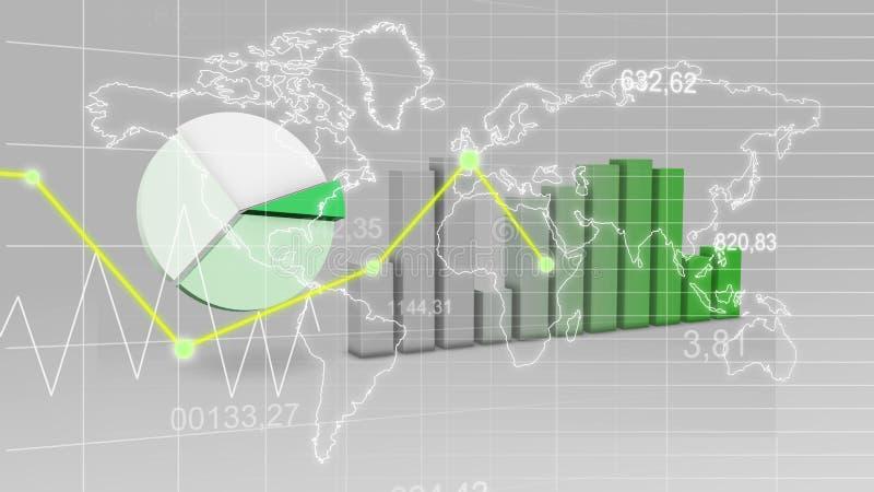 世界地图统计数据注标绿色财务3D背景 库存例证