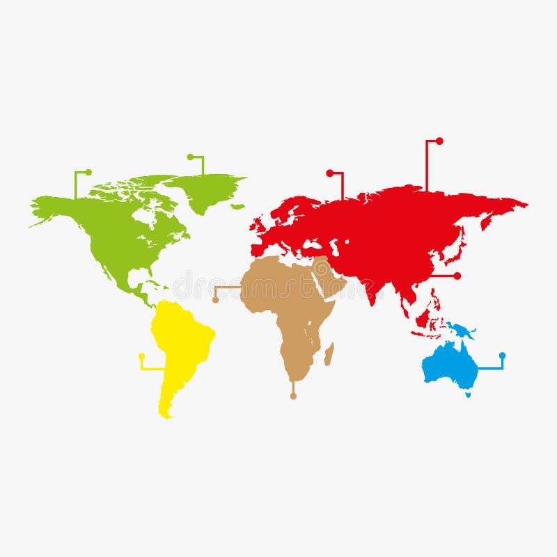 世界地图infographic与五颜六色的尖导航例证 与别针图形设计的现代世界地图 国际世界 库存例证