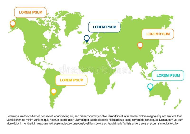 世界地图infographic与人口图 r 向量例证