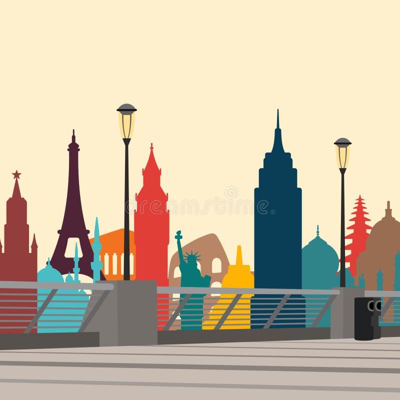世界地标城市 也corel凹道例证向量 向量例证