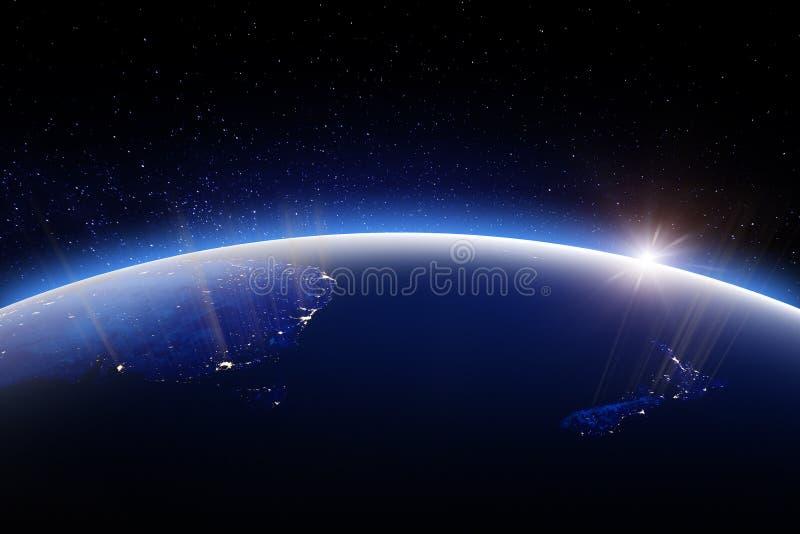 世界地球在晚上 美国航空航天局3d翻译装备的这个图象的元素 库存例证
