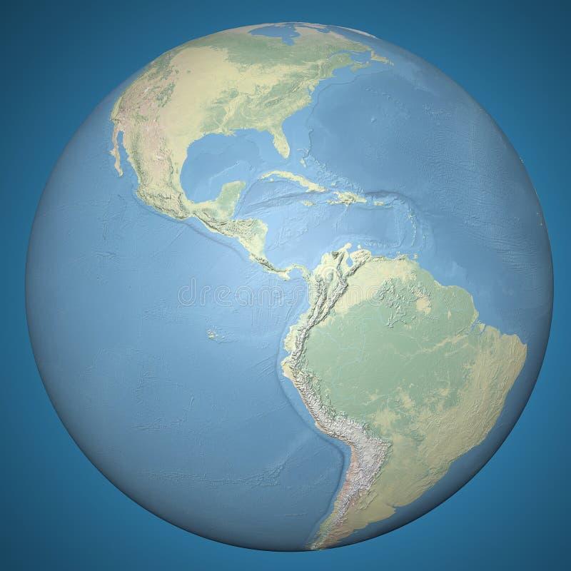 世界地球地球中美洲,物理地势图 皇族释放例证