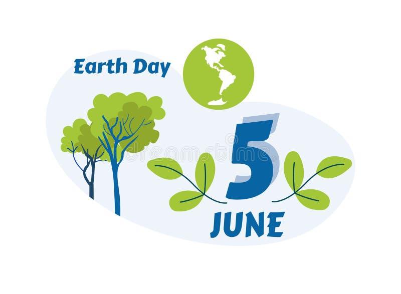 世界地球日在平的卡片上写字的五6月问候 库存例证