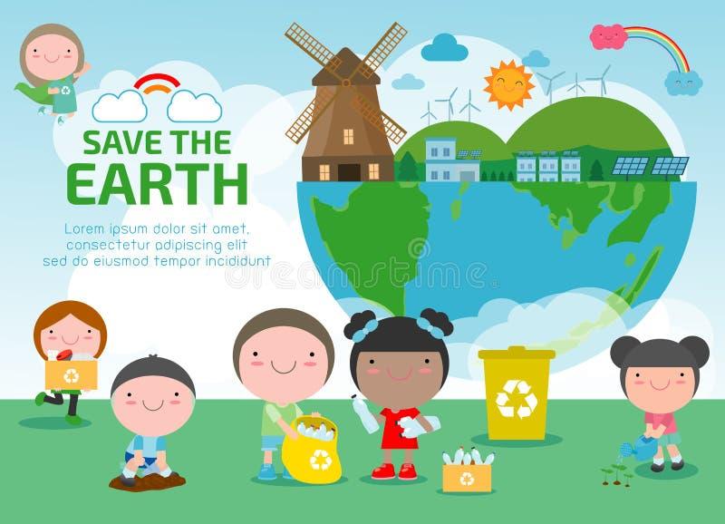 世界地球日,除世界外,保存行星,生态概念,在白色背景传染媒介illustrati隔绝的逗人喜爱的孩子卡通人物 皇族释放例证