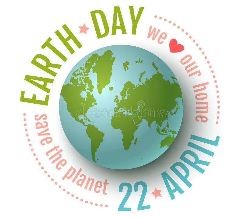 世界地球日4月22日 库存例证