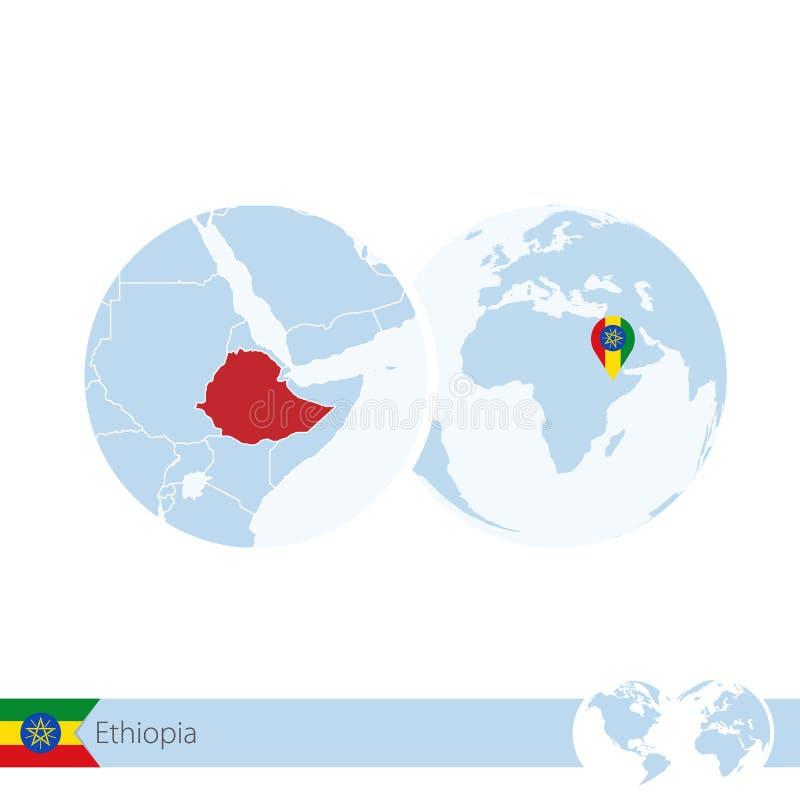 世界地球的埃塞俄比亚与旗子和埃塞俄比亚的地方地图 皇族释放例证