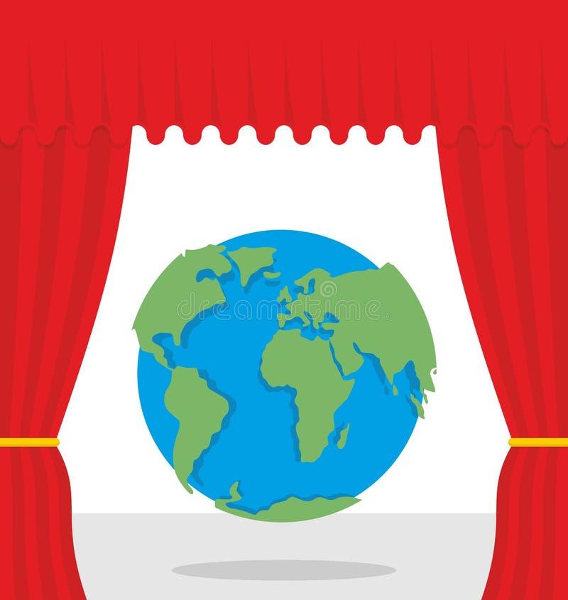世界场面 红色帷幕打开地球 戏剧性介绍 皇族释放例证