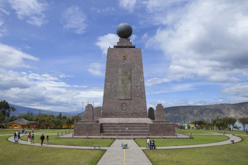 世界城市纪念碑的Ciudad Mitad del Mundo Middle在基多,厄瓜多尔 免版税库存图片