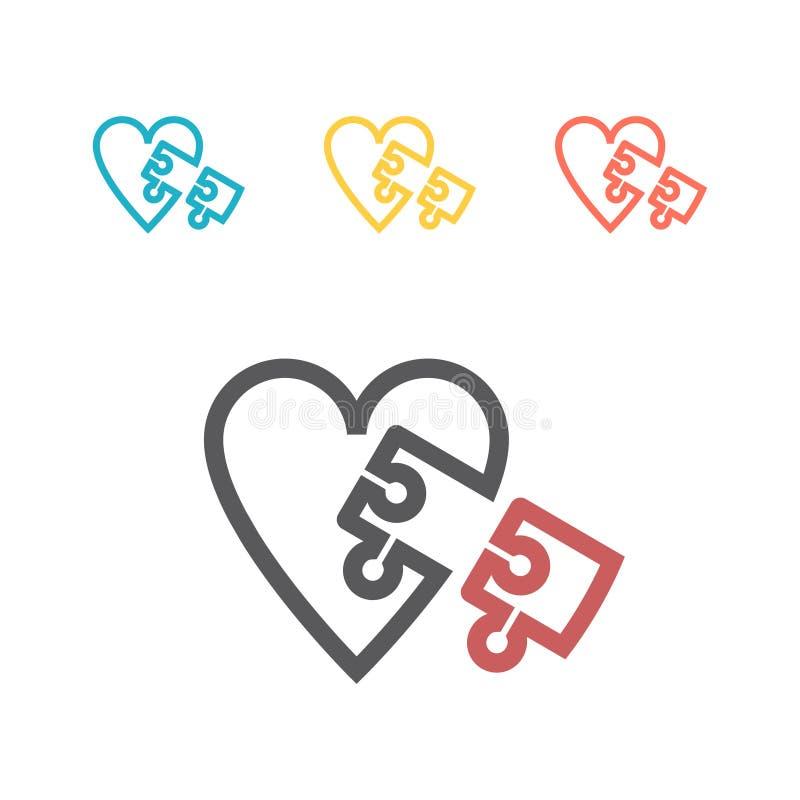 世界孤独性了悟天商标设计模板 也corel凹道例证向量 心脏难题标志 库存例证
