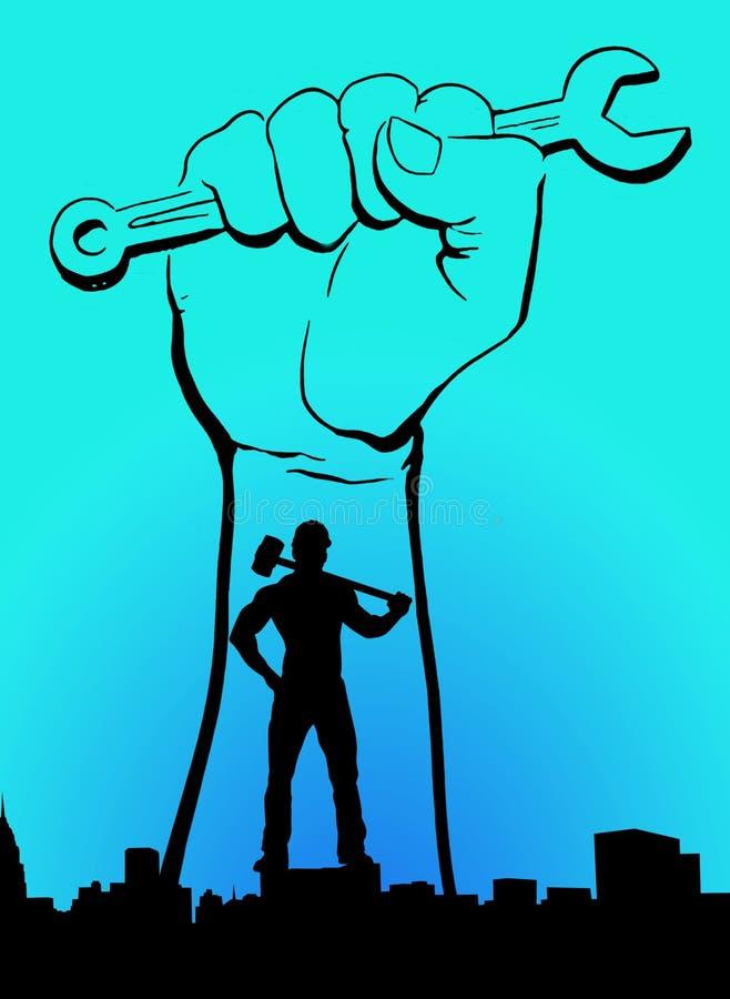 世界工作者天劳动节劳动节浅兰的水军蓝色海蓝色颜色背景人用有扳手横幅的锤子手 库存例证